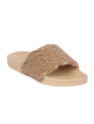 beige synthetic slides