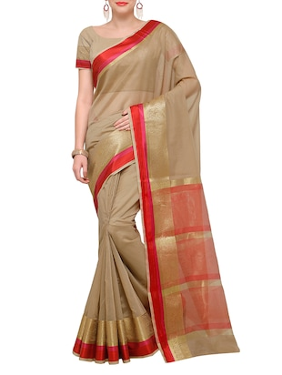 beige bordered saree