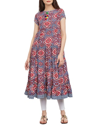 multicolored poly crepe flared kurta -  online shopping for kurtas