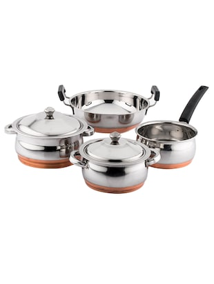 Mahavir 4 Pieces Copper BottomCook N Serve Set -  online shopping for Cookware Sets
