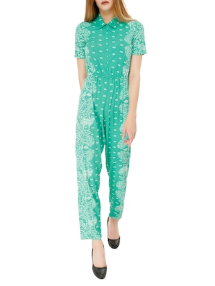 green crepe full leg jumpsuit