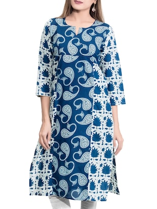 RESHA printed blue cotton straight kurta