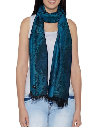 blue woollen shawl -  online shopping for stoles