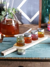 Devnow Shot glass cum jar 30ml with wooden base set of 6 pcs -  online shopping for Glass Sets
