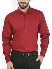 red cotton blend casual shirt -  online shopping for casual shirts