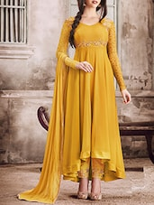 mustard georgette semi-stitched anarkali suit -  online shopping for Semi-Stitched Suits