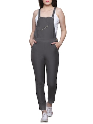 grey cotton dungree jumpsuit -  online shopping for Jumpsuits