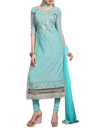 sky blue chanderi cotton churidaar suits dress material