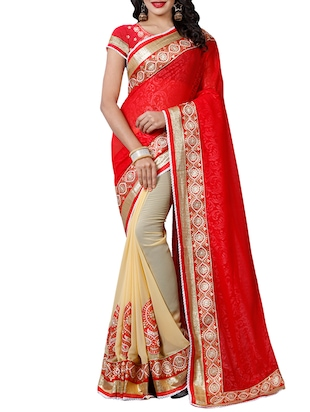 red georgette half & half saree