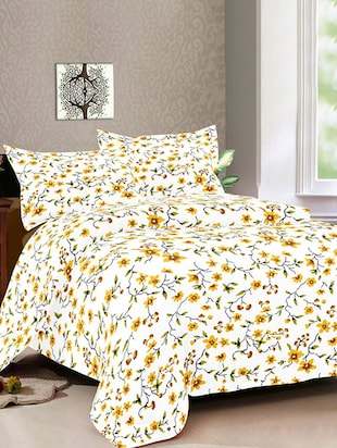 Cotton Printed Double Bed Sheet  With 2 Pillow Covers By Bianca