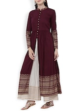 Purple Rayon Flared Kurta - By