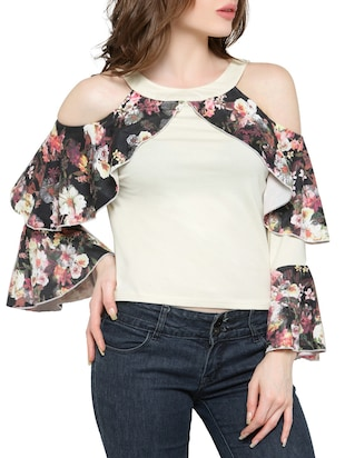 white cotton lycra ruffle top -  online shopping for Tops