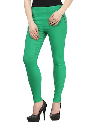 solid green cotton jegging