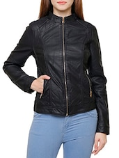 solid black leather jacket -  online shopping for jackets