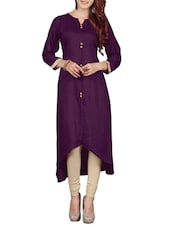 Purple Rayon Highlow Kurta - By