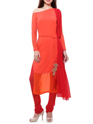 orange georgette stitched churidaar suit