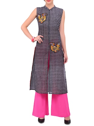 IndusDiva by Neeta Lulla Black and White Crepe Straight Cut Kurta Palazzo Set