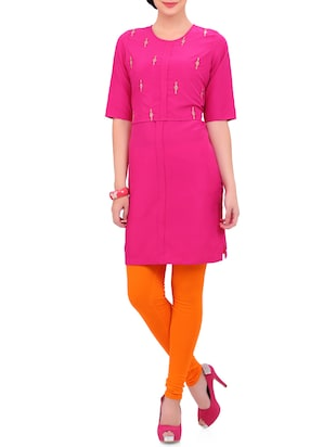 pink kurta with orange legging set