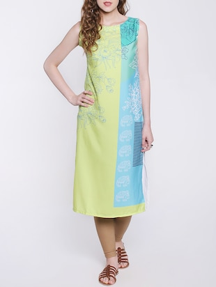 multicolored crepe straight kurta