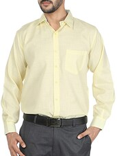 yellow cotton blend formal shirt -  online shopping for formal shirts