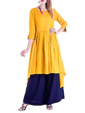 Mustard Rayon Highlow Kurta - By