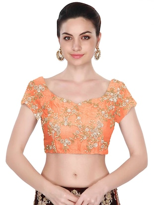 orange raw silk embroidered blouse