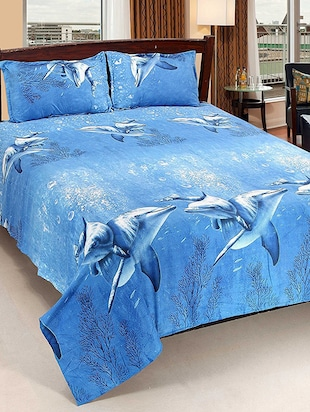 Dolphin Printed Double Bed Sheet With Pillow Covers By Milap -  online shopping for bed sheet sets