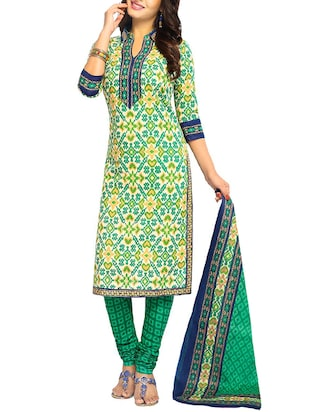 green  churidaar unstitched suit