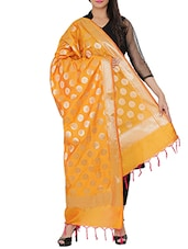 Orange Silk Blend Banarasi Dupatta - By