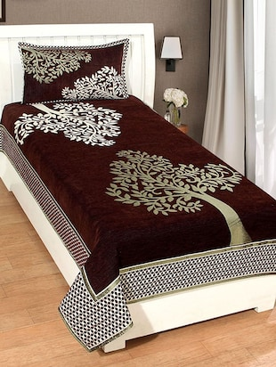 Single Chenille Bed Cover With 1 Pillow cover -  online shopping for bed covers