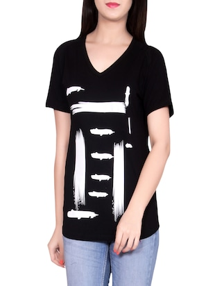 black cotton casual tee
