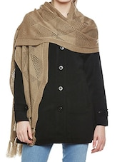 solid beige woolen stole -  online shopping for stoles