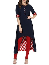 Blue Rayon Highlow Kurta - By
