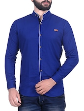 blue cotton blend casual shirt -  online shopping for casual shirts