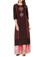 Brown Cotton Straight Kurta - By