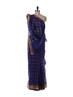Blue Saree With Orange Stripes - Platinum Sarees