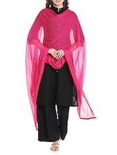 Pink Poly Chiffon Plain Dupatta - By