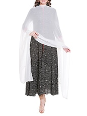 Cream Poly Chiffon Plain Dupatta - By