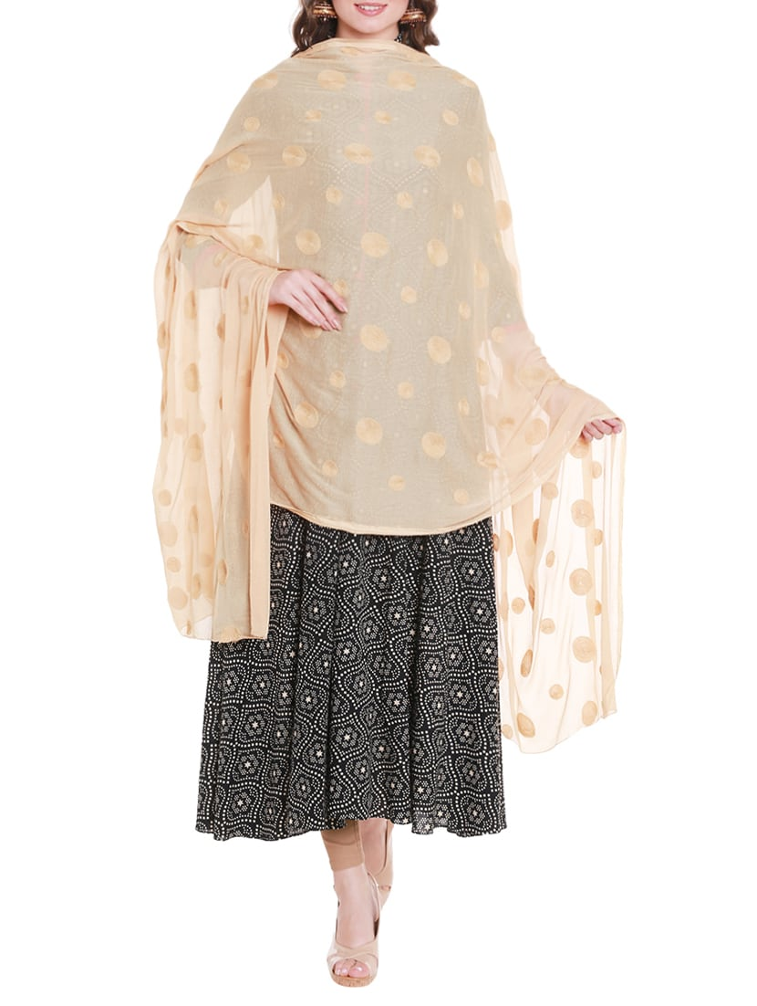 Beige Chiffon Embroidered Dupatta - By