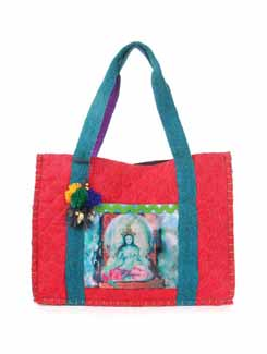 Red And Green Jute Bag - The House Of Tara