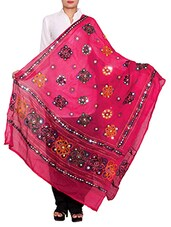 Pink Cotton Embroidered Dupatta - By