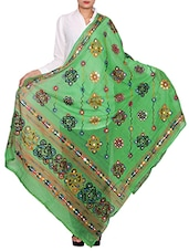 Green Cotton Embroidered Dupatta - By