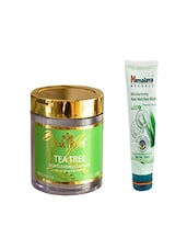 Pink Root Tea Tree Skin Clearing Clay Mask (100gm) With Himalaya Moisturizing  Aloe Vera Face Wash (100ml) Pack Of 2 - By