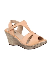 beige back strap wedge -  online shopping for wedges