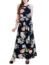 multicolored floral printed crepe maxi dress -  online shopping for Dresses