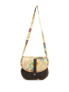 Genuine Leather And Brocade Saddle Bag - The House Of Tara