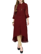 Maroon Georgette Highlow Kurta - By