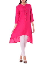 Pink Rayon Highlow Kurta - By