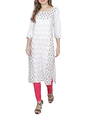 White Poly Cotton Straight Kurta - By
