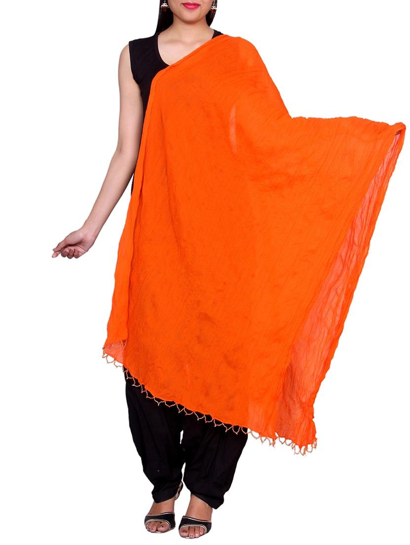 Orange Chiffon Plain Dupatta - By